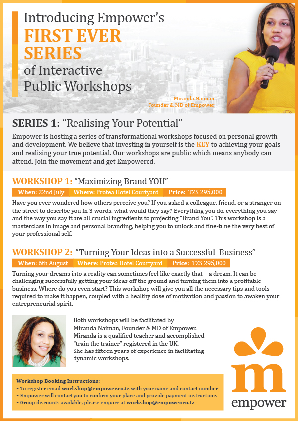 We are launching our first ever interactive series of public workshops